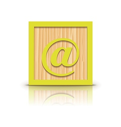 at sign wooden alphabet block vector image