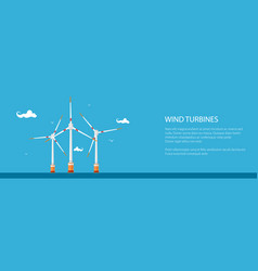 Banner with horizontal axis wind turbines vector