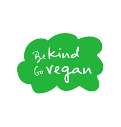 Be kind go vegan handwritten title on green cloud vector