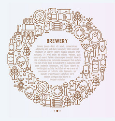beer concept in circle with thin line icons vector image