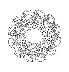 black and white doodle wreath vector image