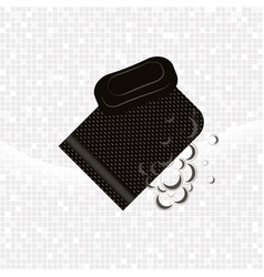 black glove kese with soap and foam vector image