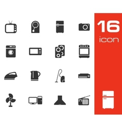 Black home appliances icon set on white background vector
