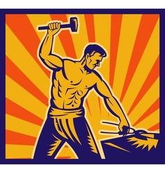Blacksmith at work wielding a hammer vector