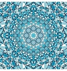 Blue circular floral kaleidoscope pattern vector