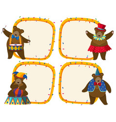 Border template with brown bear in circus vector
