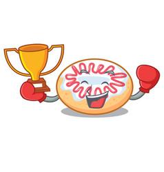 Boxing winner jelly donut mascot cartoon vector