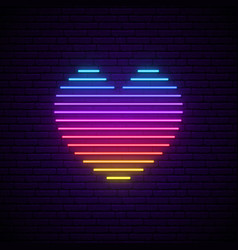 bright neon heart rainbow lines in a heart form vector image