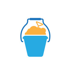 bucket sand icon design template isolated vector image