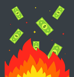 Burn money in a fire banknotes fly into fire vector