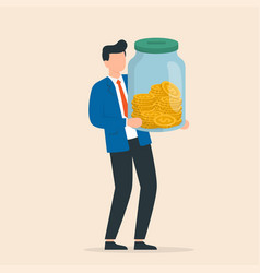 businessman holding glass jar with full coins vector image