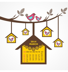 Calendar of March 2014 with birds sit on branch vector
