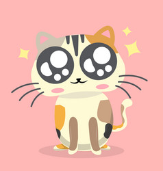 cartoon cat cheerful emotion pink background vector image