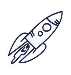 Cartoon rocket hand drawn outline cute space vector