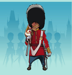cartoon soldier of the royal guard with a rolled vector image