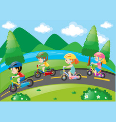 Children cycling in the park at daytime vector