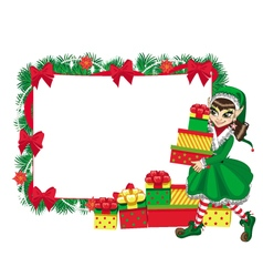 Christmas elf with empty frame vector image