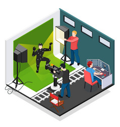 cinema motion capture isometric composition vector image