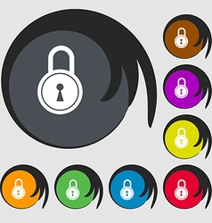 Closed lock icon Symbols on eight colored buttons vector