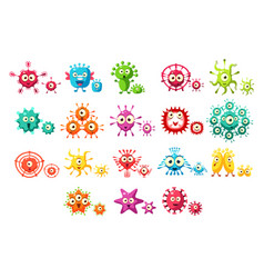 Colorful bacteria cartoon characters set cute vector