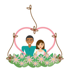 Couple lovely heart frame flowers decorative vector