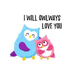 Cute cartoon owls template for printing vector