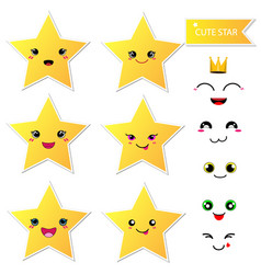 Cute happy star with smiley face on white vector