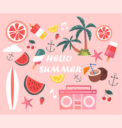 Cute set of essential fun summer elements vector