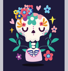 Day dead skeleton flowers and cloth vector