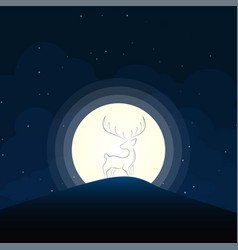 Deer silhouette moonlight vector