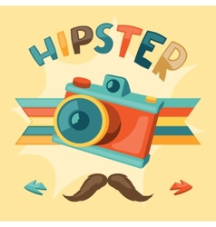 Design with photo camera in hipster style vector image
