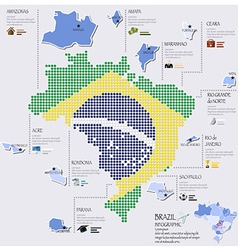 Dot And Flag Map Of Brazil Infographic Design vector