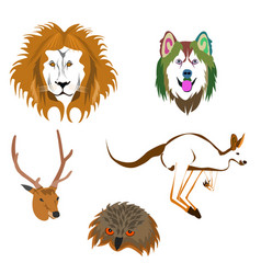 Drawing various animal heads vector