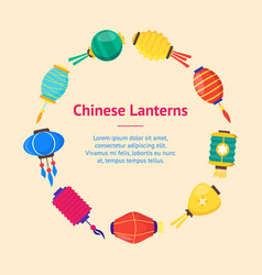 East chinese paper street or house lanterns banner vector