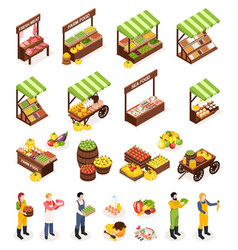 farmer market isometric icons set vector image
