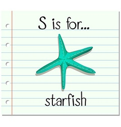 Flashcard letter S is for starfish vector