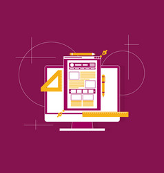 flat of web design and development concepts vector image