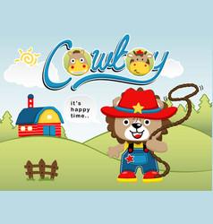 funny cowboy cartoon vector image