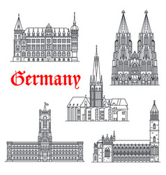 Germany architecture buildings icons vector