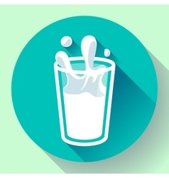 glass of milk splash icon flat style vector image