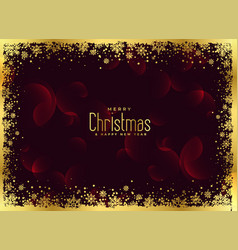 golden snowflakes frame christmas background vector image