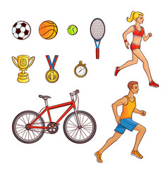 hand-drawn set of running people and sport items vector image