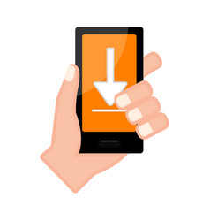 Hand holding a smartphone with an arrow icon vector
