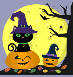 happy halloween a black cat in a witch hat sits vector image