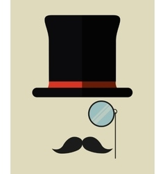 Hat mustache lupe male design vector