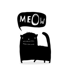 inky funny cat talk meow vector image
