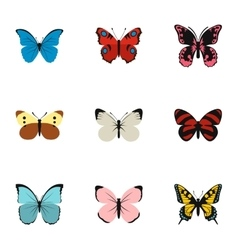 Insects butterflies icons set flat style vector image