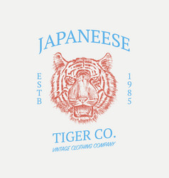 Japanese tiger logo asian cat grunge label print vector