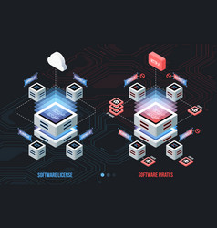 Licensed software and pirated isometric vector