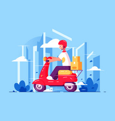 man courier driving on scooter vector image